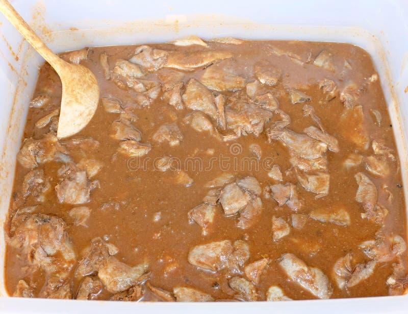 地方泰国腌制鱼或被发酵的鱼 传统泰国食物样式未加工的被保存的鱼名字Pla镭 库存图片