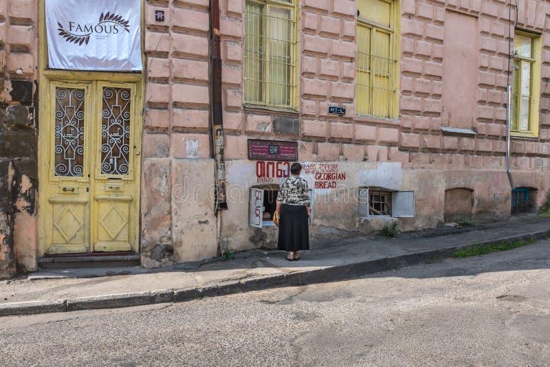 地方面包商店第比利斯乔治亚 免版税库存图片