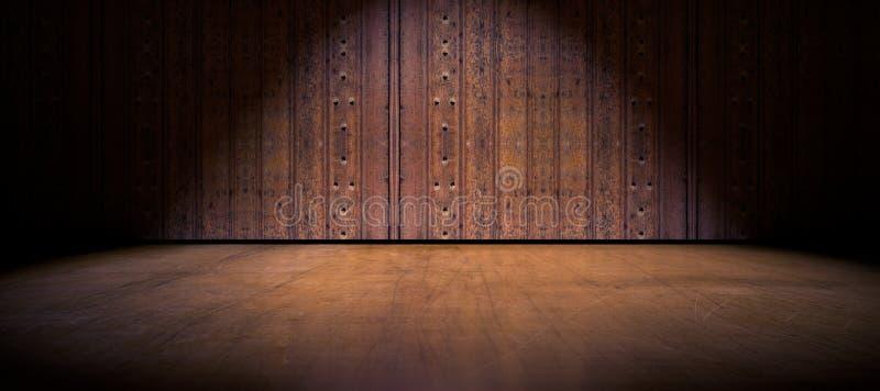 地板和木头门背景 向量例证
