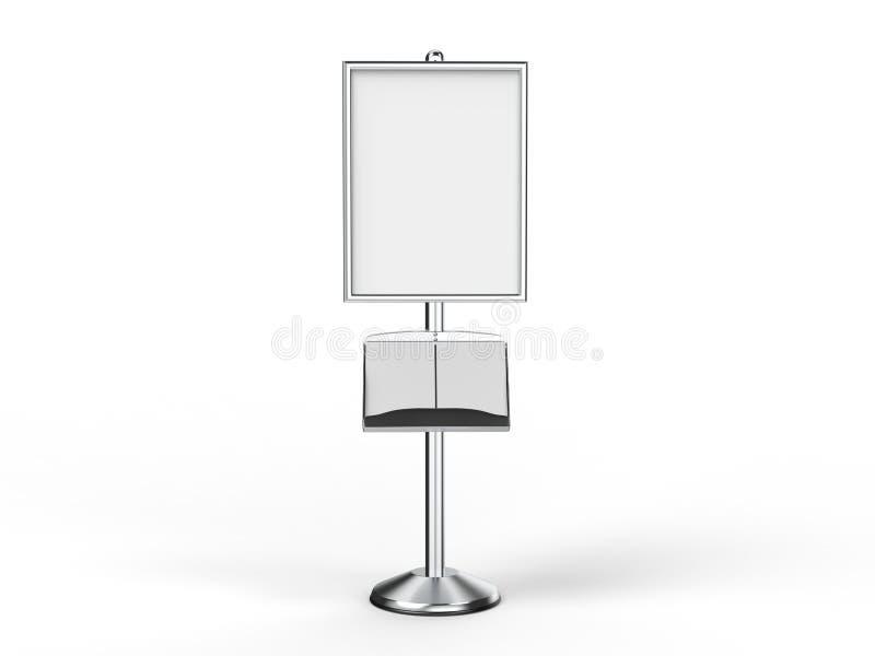 地板常设海报显示持有人短冷期框架立场,广告标志持有人, 3d回报例证 向量例证