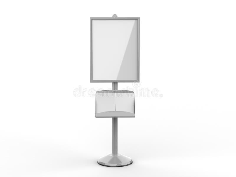 地板常设海报显示持有人短冷期框架立场,广告标志持有人, 3d回报例证 库存例证
