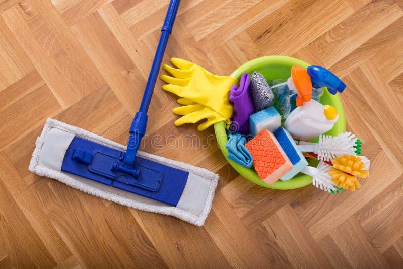 地板清洁物品和设备 库存照片