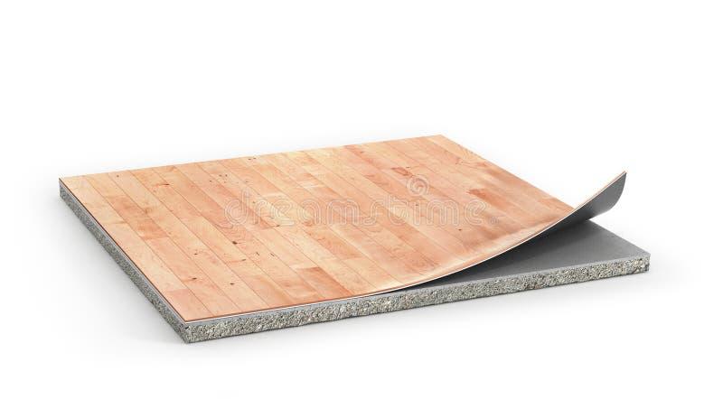 地板片断与亚麻油地毡涂层的 皇族释放例证