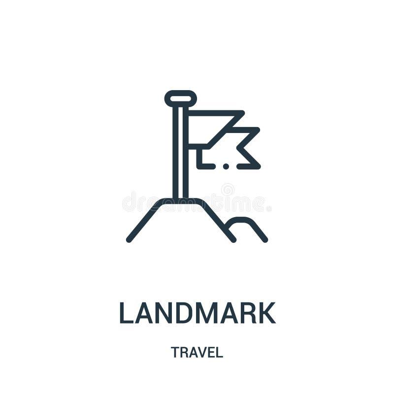 地标从旅行汇集的象传染媒介 稀薄的线地标概述象传染媒介例证 线性标志为在网的使用和 库存例证