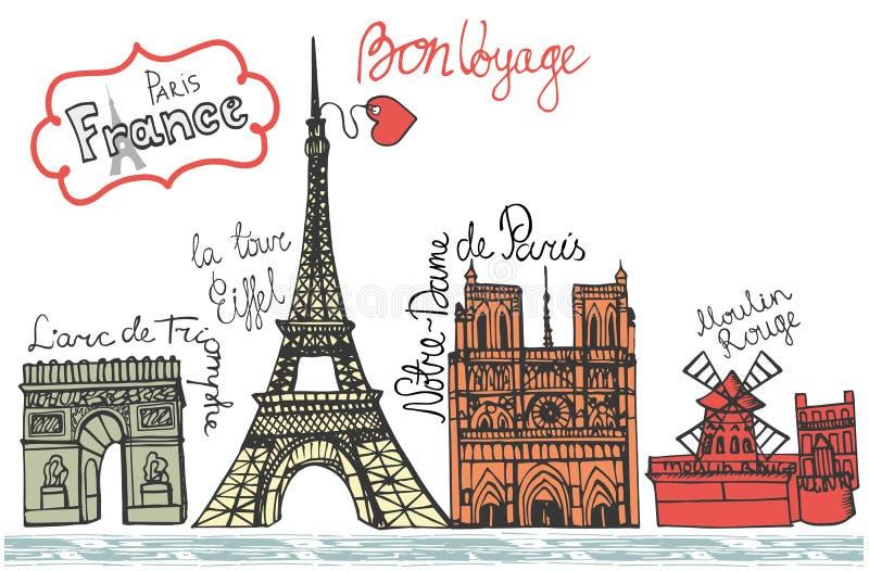 巴黎地标全景 概略的乱画色 库存例证