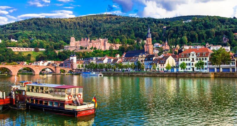 地标和德国-中世纪海得尔堡的美好的地方 免版税图库摄影