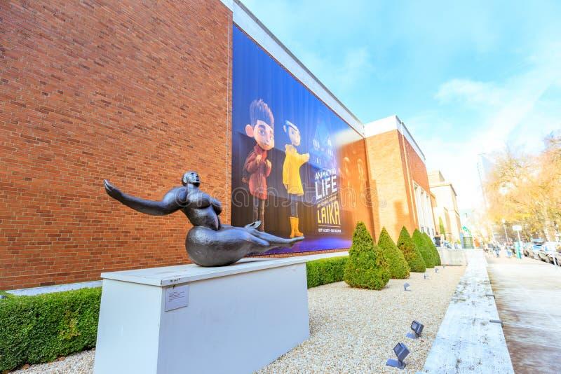 地标波特兰美术馆的门面在波特兰,俄勒冈 图库摄影