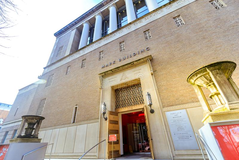 地标波特兰美术馆的门面在波特兰,俄勒冈 免版税库存图片