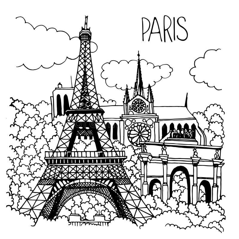 巴黎地标的手拉的例证 库存例证