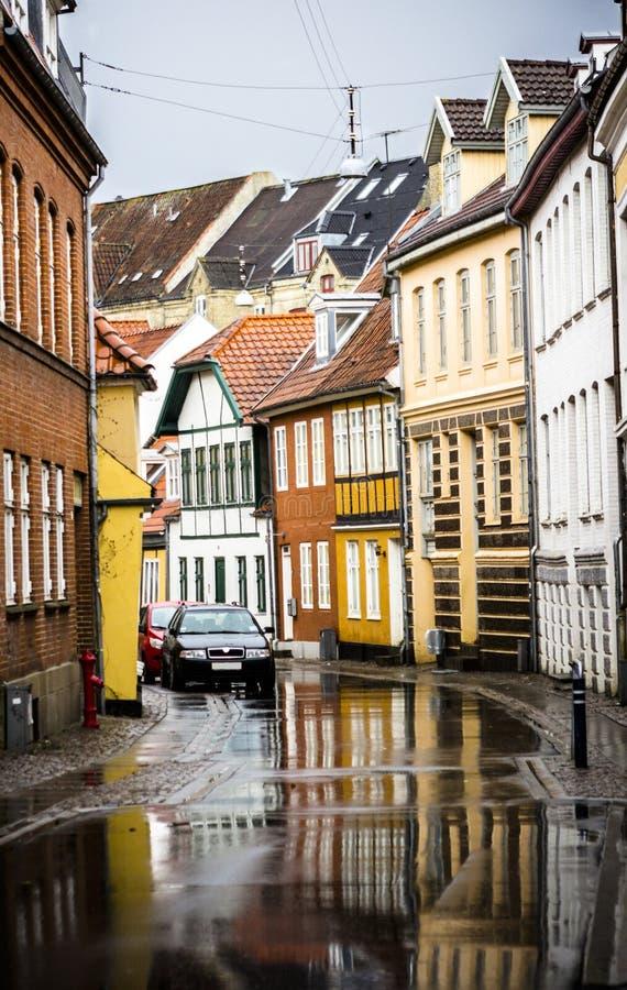 地标街道在奥尔堡 免版税库存照片