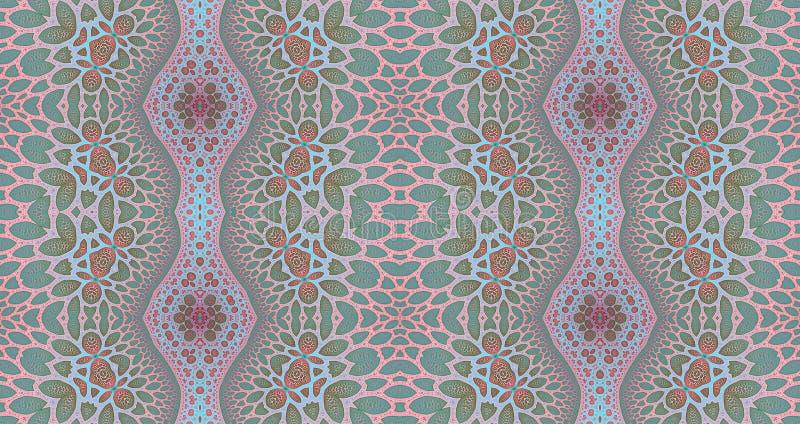 地毯、挂毯、织品和墙纸的无缝的样式背景理想与一个详细的抽象花卉样式 向量例证