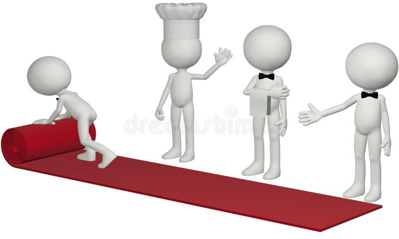 地毯主厨好客红色餐馆卷等候人员 库存例证