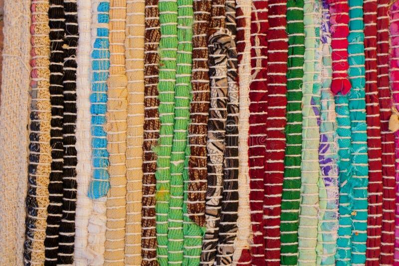 地毯五颜六色的纹理 安达卢西亚的地毯背景  Jarapa 库存图片