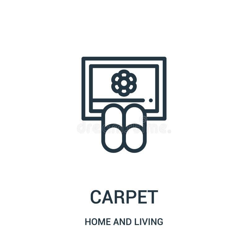 地毯从家和生存收藏的象传染媒介 稀薄的线地毯概述象传染媒介例证 线性标志为使用 皇族释放例证
