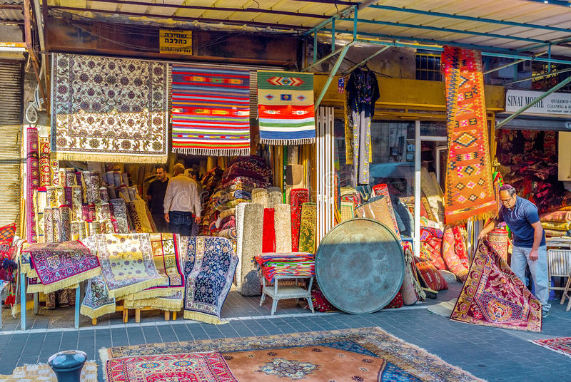 地毯商店在贾法角 库存照片