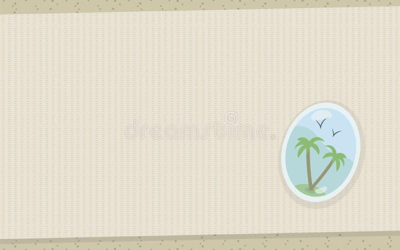地毯席子废弃物帆布帆布交错在沿海沙子的织品粗糙的亚麻布与下垂棕榈树热带游泳对象 库存例证