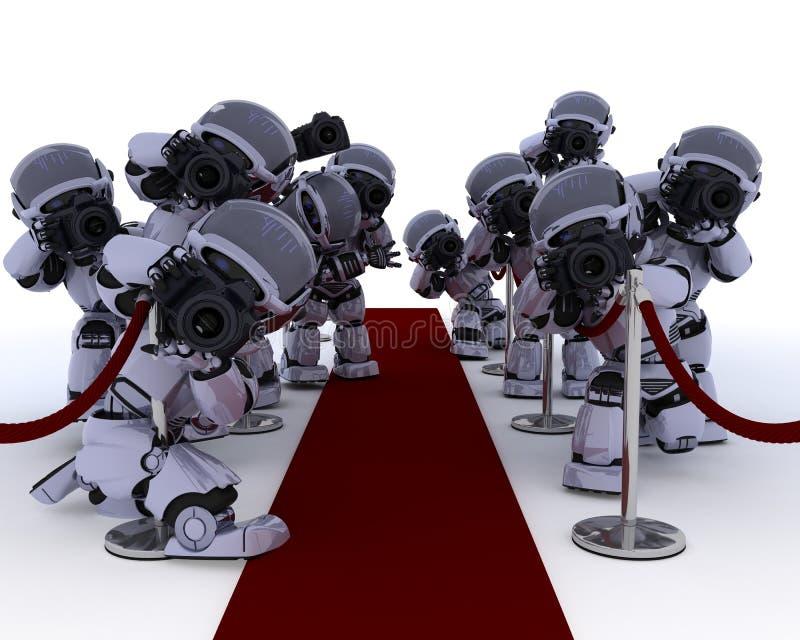 地毯无固定职业的摄影师红色机器人 向量例证