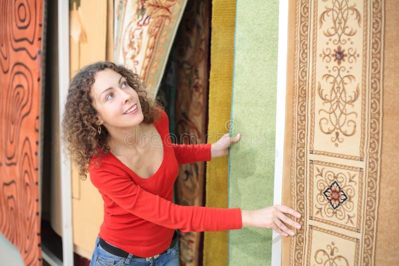 地毯界面妇女年轻人 库存照片