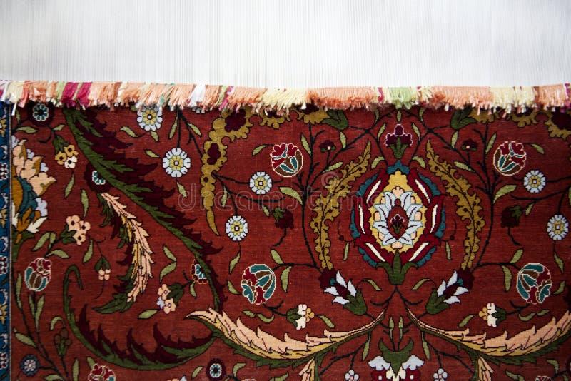 地毯的手工生产 库存照片