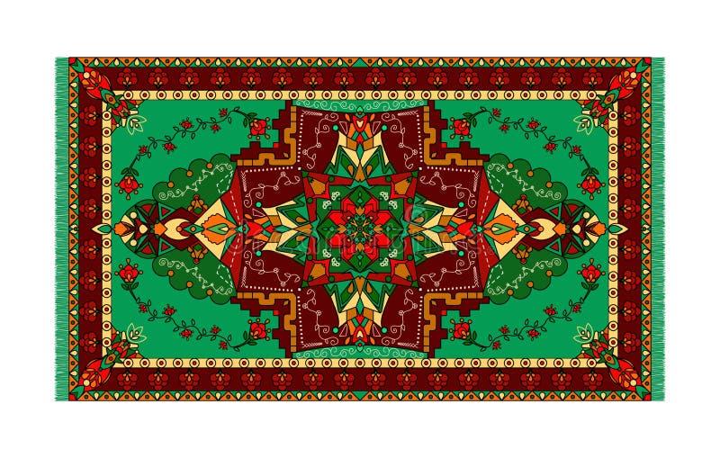 地毯的,纺织品五颜六色的模板 与框架的东方花卉样式 库存例证