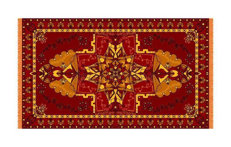 地毯的,纺织品五颜六色的模板 与框架的东方花卉样式 向量例证