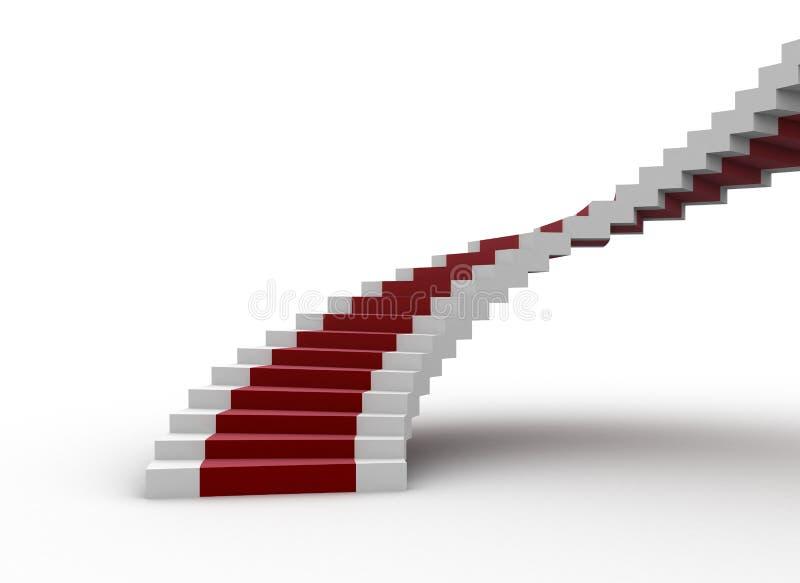 地毯红色螺旋形楼梯 向量例证
