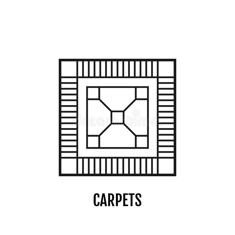 地毯,难倒 平的线性象,传染媒介例证 标志或对象 皇族释放例证
