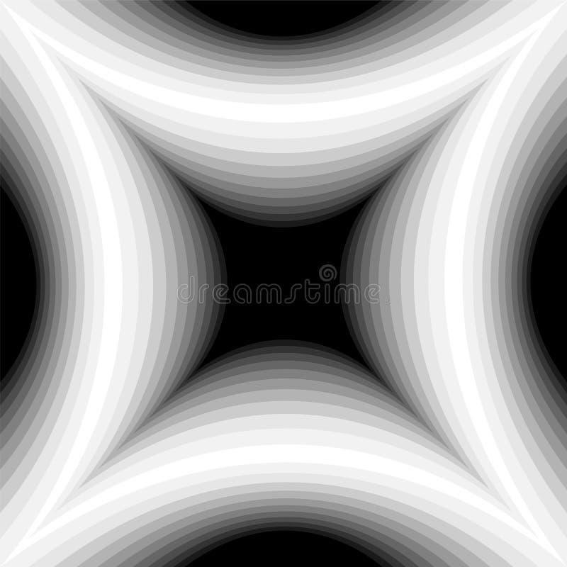 轻轻地淡光从黑暗的凹面长方形的单色样式到光造成视觉容量影响 库存例证
