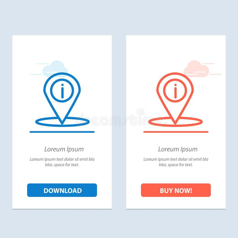 地点、航海、地方、信息蓝色和红色下载和现在买网装饰物卡片模板 向量例证