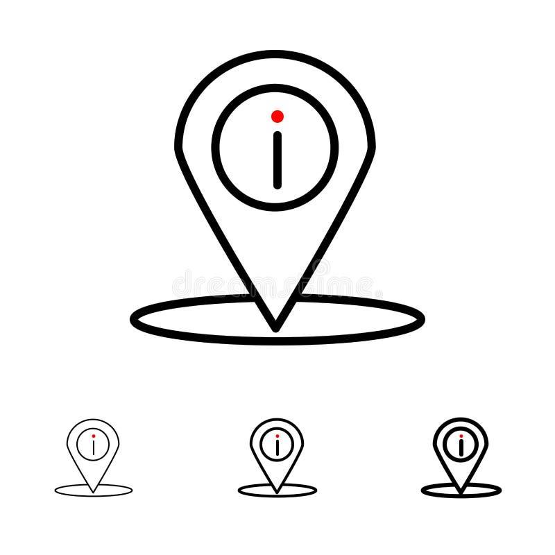 地点、航海、地方,信息大胆和稀薄的黑线象集合 库存例证