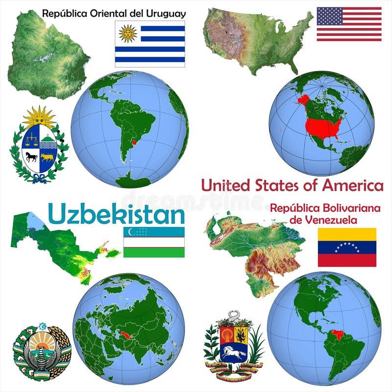 地点乌拉圭,美国,乌兹别克斯坦,委内瑞拉 向量例证
