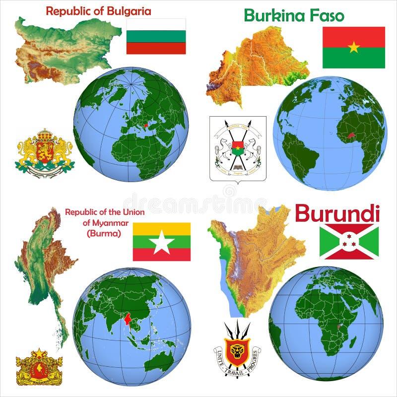 地点保加利亚,布基纳法索,缅甸,缅甸,布隆迪 库存例证