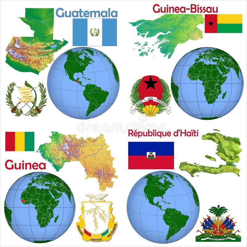 地点危地马拉,几内亚比绍,几内亚,海地 向量例证