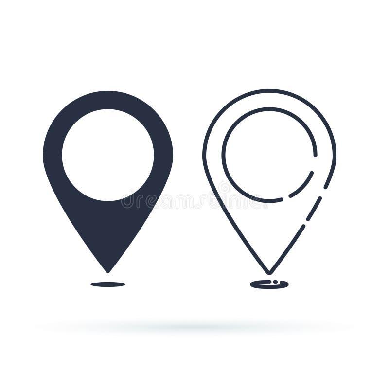 地点图标 在白色背景隔绝的Pin标志 航海地图、地方概念的gps或者方向 向量例证