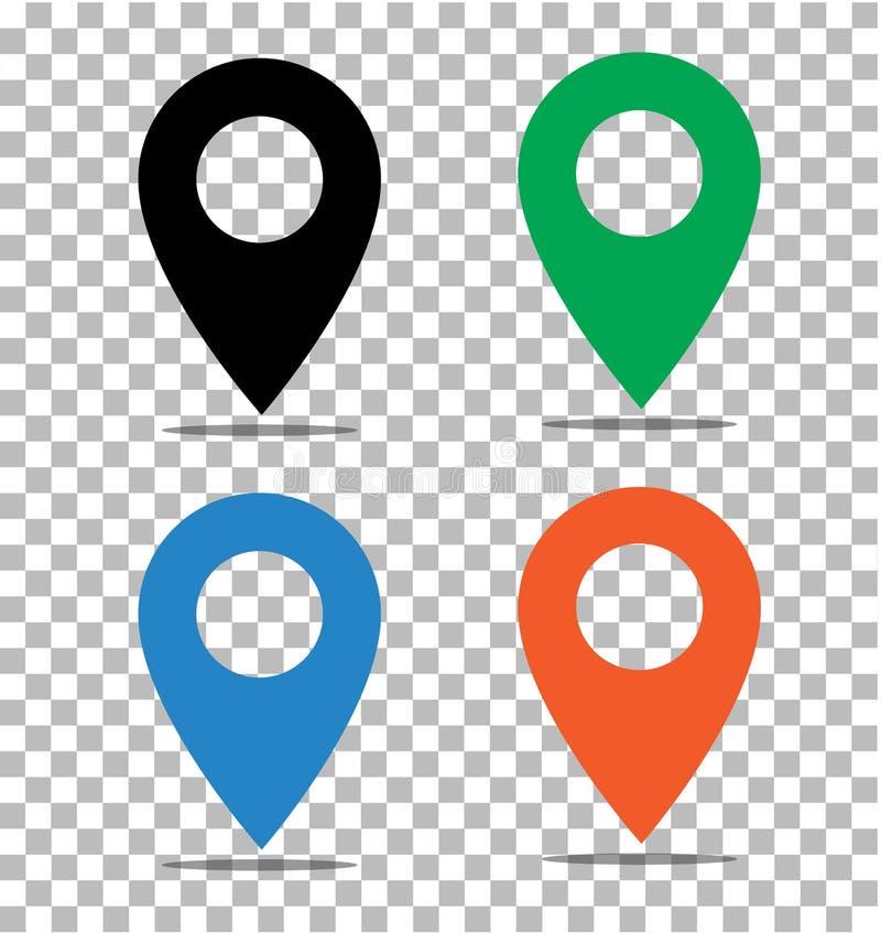 地点在透明的别针象 在地图标志的别针 平的styl 皇族释放例证