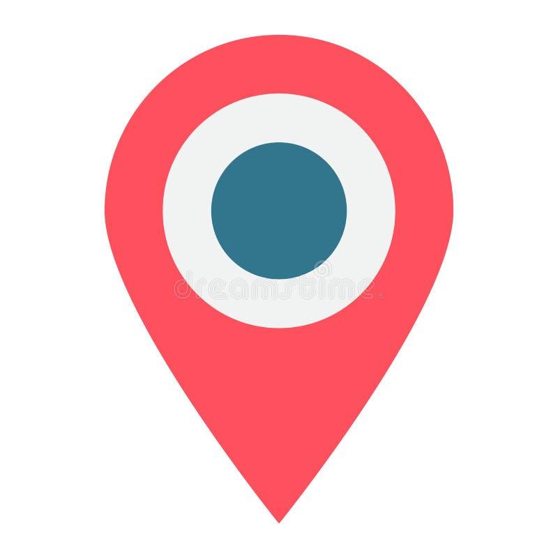地点平的象、地图别针和网站按 皇族释放例证