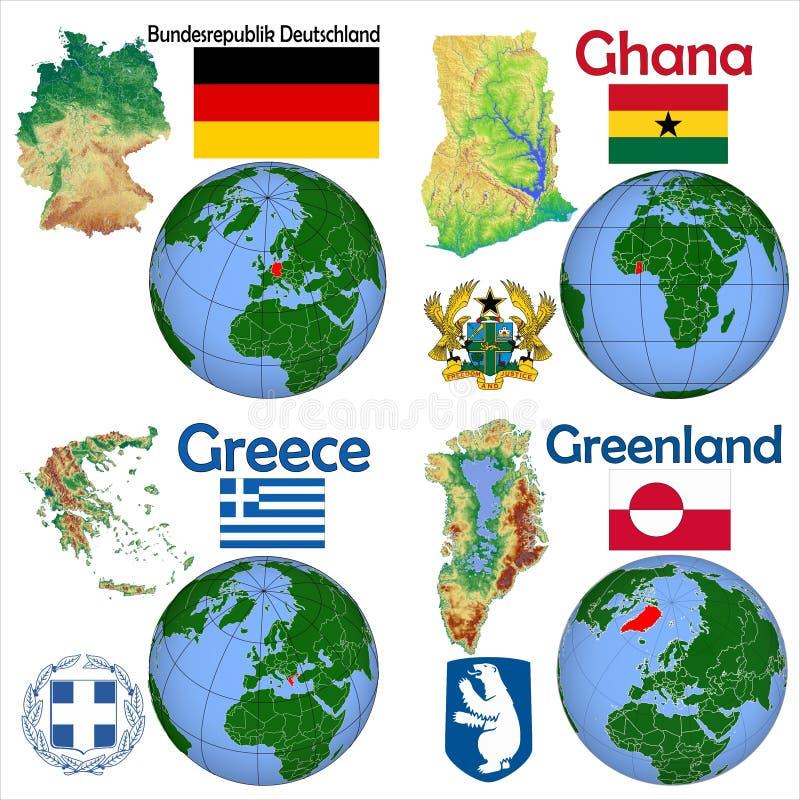 地点德国,加纳,希腊,格陵兰 皇族释放例证