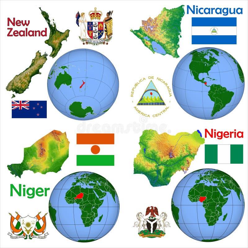 地点新西兰,尼加拉瓜,尼日尔,尼日利亚 皇族释放例证