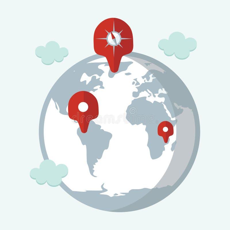 地点目标,旅行目的地,航海地图设计 库存例证