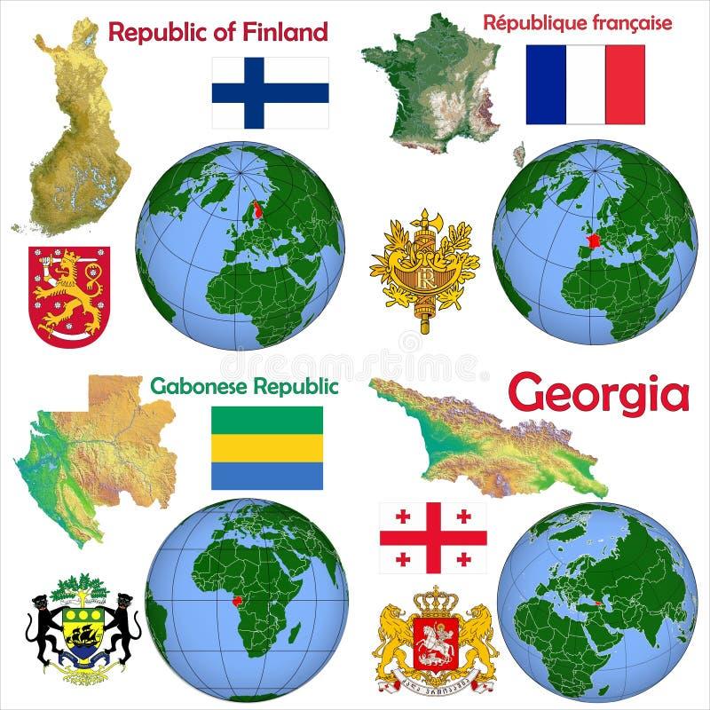 地点芬兰,法国,加蓬,乔治亚 向量例证