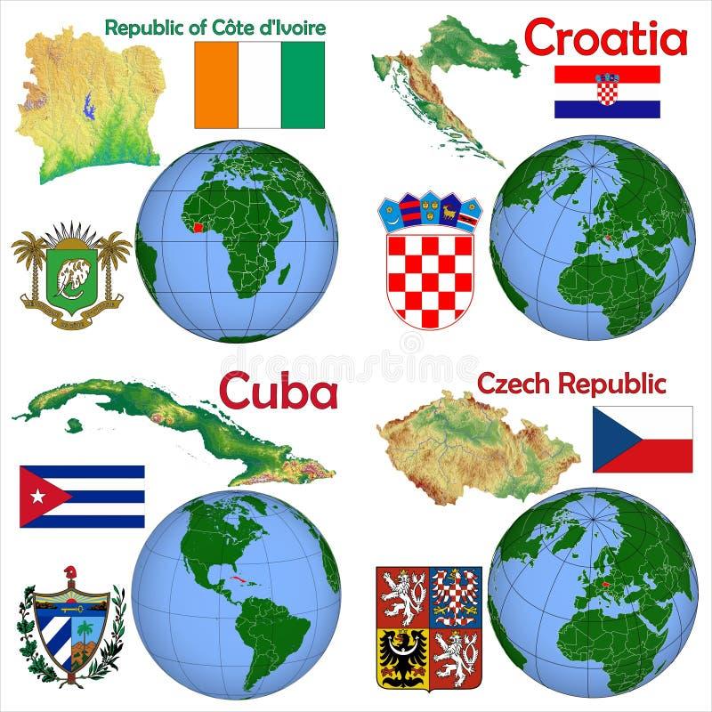地点象牙海岸,克罗地亚,古巴,捷克 向量例证