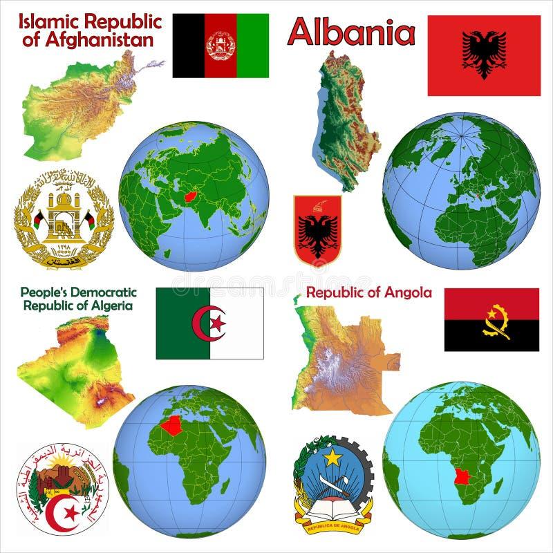 地点阿尔巴尼亚,阿富汗,安哥拉,阿尔及利亚 向量例证