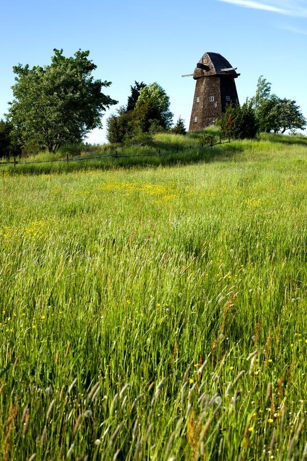 没有刀片和树的老风车在领域旁边 免版税库存照片