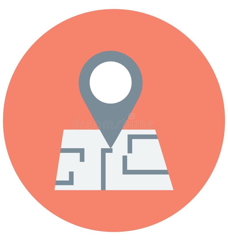 地点Pin颜色可以容易地修改或编辑的传染媒介象 向量例证