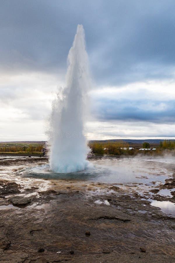 地热冰岛geysir 图库摄影