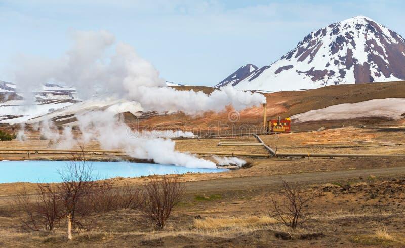 地热能驻地Bjarnarflag和它的蓝色湖,冰岛 免版税库存照片