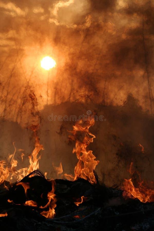 地狱日落 库存图片