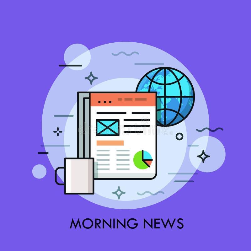 地球、咖啡和在片剂屏幕上显示的电子报纸 早晨新闻,网上出版物概念 向量例证