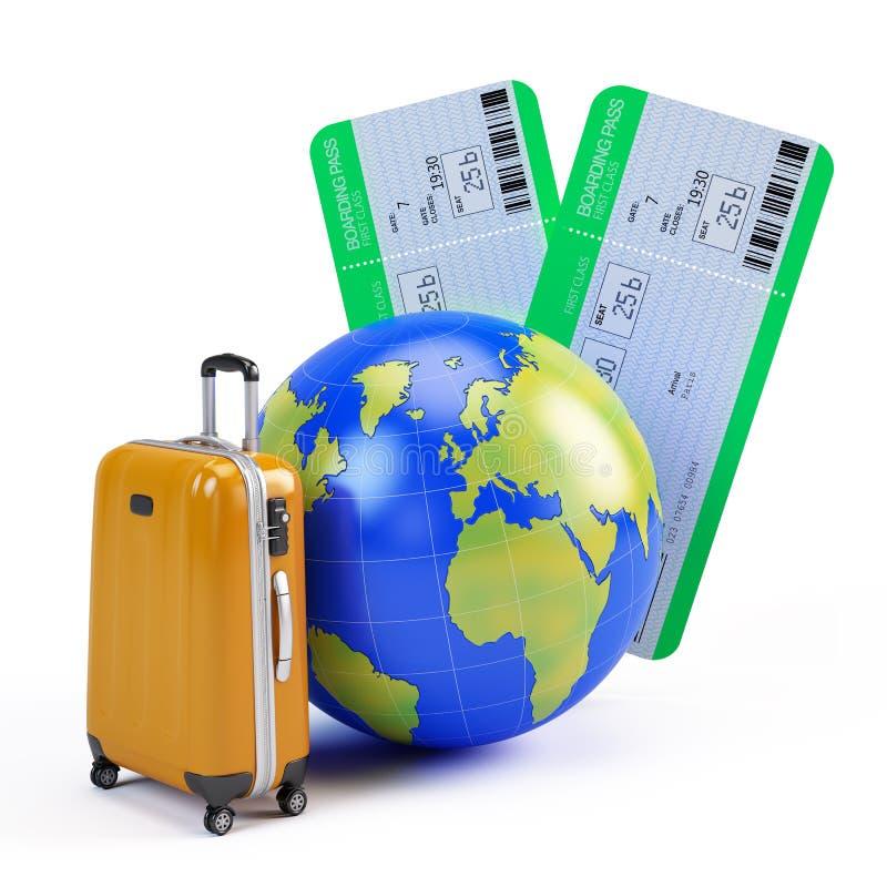 地球、手提箱和飞机票 向量例证