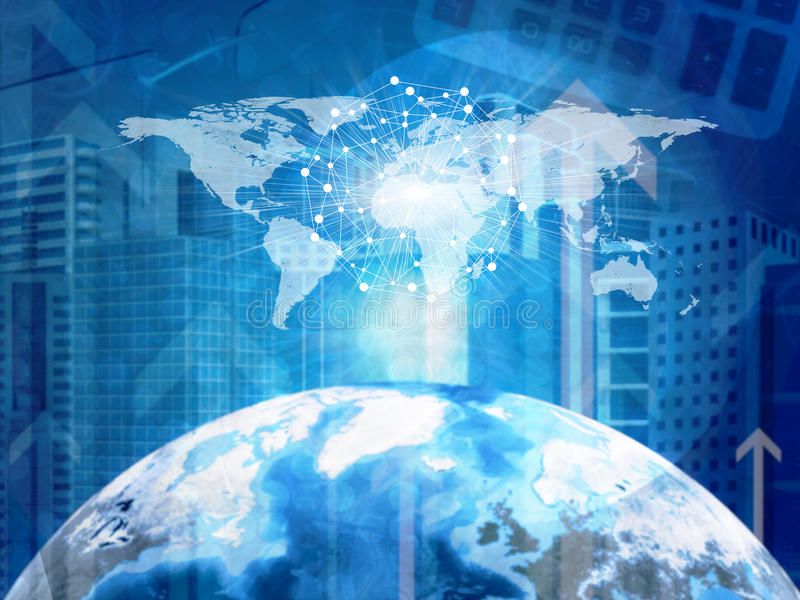 地球、摩天大楼和世界地图 向量例证